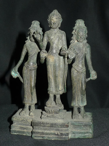 Three Khmer Buddha and deities on single base