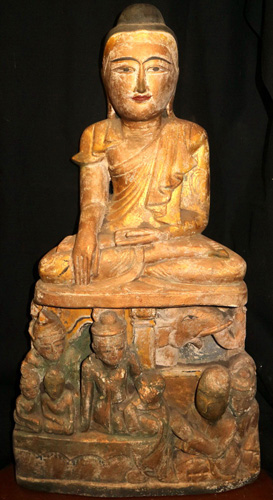 Mandalay Buddha on carved base
