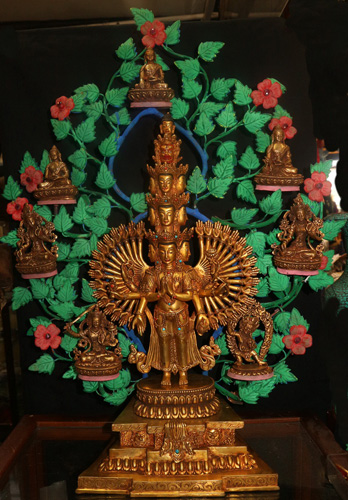Avalokiteshvara, boddhi tree and deities