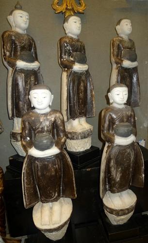 Set of Buddha and 4 monks