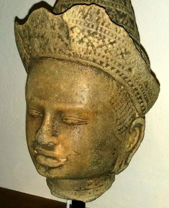Khmer head deity