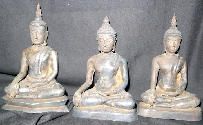 Set of 3 Thai Buddha (U-Thong, Chieng Sen, Sukhothai)
