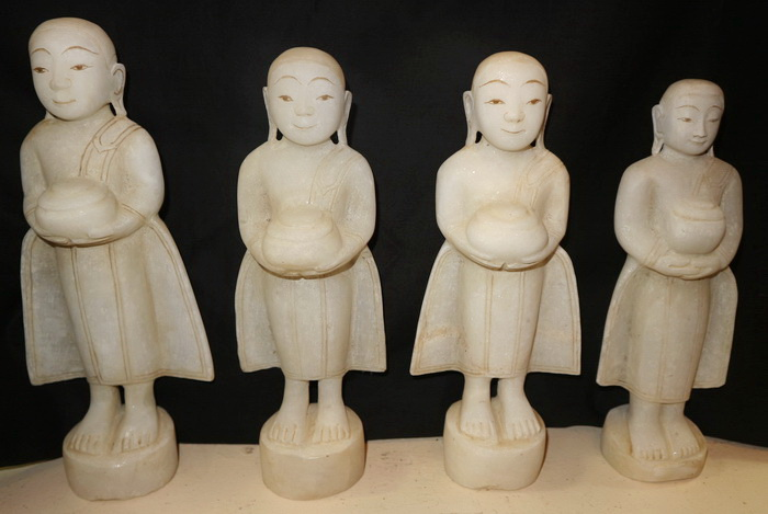Set of 4 begging monks