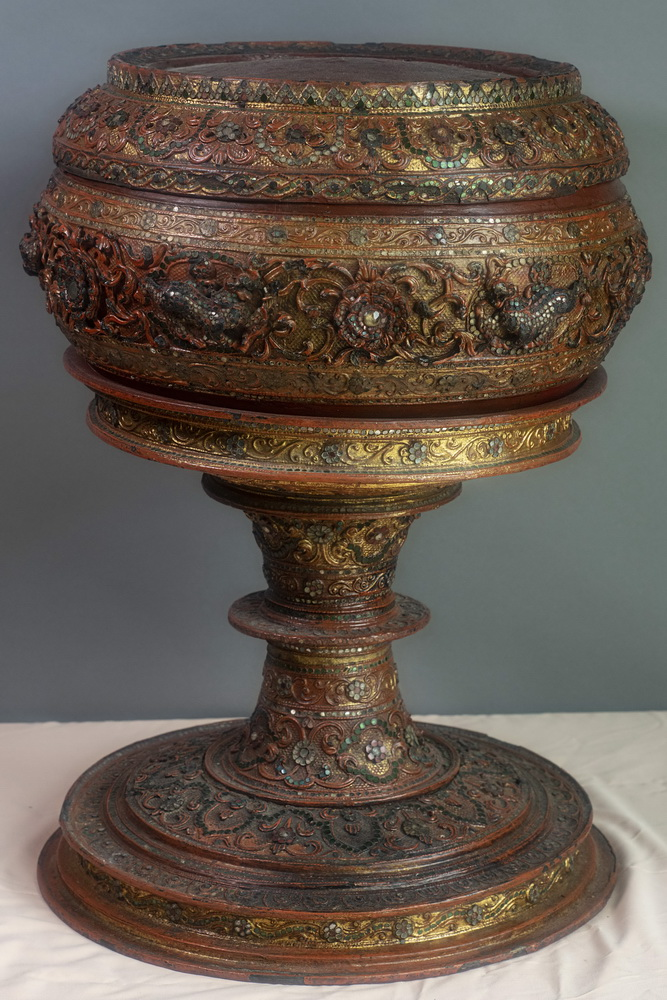 MAKE AN OFFER - Thabeik on kalat -giant covered monk bowl on stand