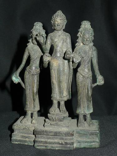 Three Khmer Buddha and deities on single base