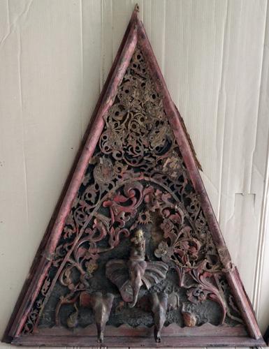 Triangle temple pediment