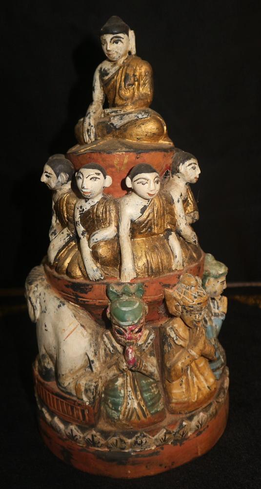 Buddha monks and nats on chedi