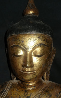 Chinese Antique Horn Hand-carved three-faced Buddha Buddha statue